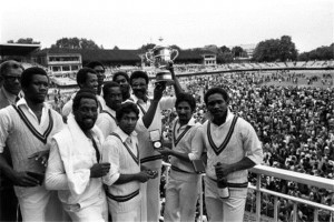 1975's victorious West Indies team pose at the Lord's balcony