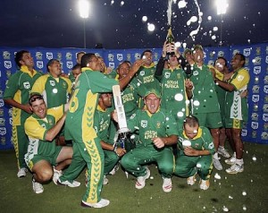 South African team celebrating after chasing a world record 434